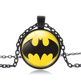 Batman Pendants Australia - 2019 new fashion pendant silver necklace Superhero Batman time gemstone glass pendant necklace creative children's gift