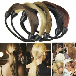 plaited hair bands NZ - Girls Black,brown Synthetic Hair Ponytail Holders Plaits Headwear Stretch Rubber Band Braid Hair Ring Rope For Women