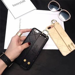 Wholesale For Iphone X Xs Max XR Plus PU Leather Cell Phone Back Cover Shock Reduction Hand Strap Dirt resitant