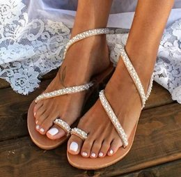 pearl back shoes Australia - Summer Pearl Beaded Flats Sandal Flip Flop Open Toe Fashion Casual Shoe Anti Slip Sexy Slipper Women