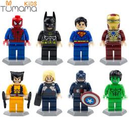 Spiderman Block Figures Australia - 8pcs set Building Blocks Super Hero Figures With Base Captain America Spiderman Iron Man Action Figures