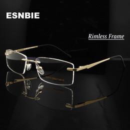 0a82b48266 Metal Prescription Glasses Australia - ESNBIE Alloy Gold Men S Rimless Eyeglasses  Frame Men Women Myopia Optical