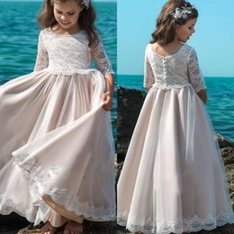 Flower Girl Dresses For Garden Wedding Australia - Boho Blush Pink Flower Girl Dresses for Beach Garden Wedding Princess Half Sleeve Sheer Neck Appliqued Long Kids Pageant Gowns