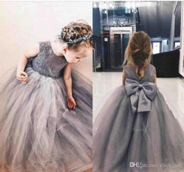 $enCountryForm.capitalKeyWord Australia - Grey Princess Flower Girl Dresses 2019 Jewel Big Bowl Lace Applique Girls Pageant Dresses For Toddlers Children A Line Kids Birthday Dress