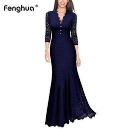Elegant Longer Length Lace Dress Australia - Fenghua Spring Summer Dress Women 2019 Elegant Sexy V Neck Long Party Dresses Hollow Out Lace Mermaid Maxi Dresses Female 2XL