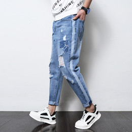 Discount summer wash coat Summer New Jeans Men Washed Fashion Casual Torn Holes Denim Pants Man Streetwear Hip Hop Loose Cowboy Trousers Male Clot