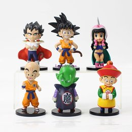Wholesale dragon ball chichi resale online - 6pcs set Dragon Ball cm keychain action figure model toy Son Goku Kakarotto krillin Chichi Vegeta Cell Phone keychain for kids gift