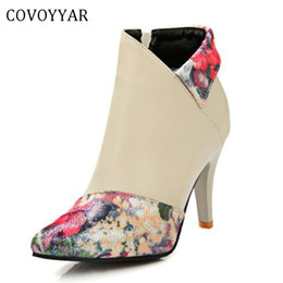 $enCountryForm.capitalKeyWord Australia - COVOYYAR 2019 Women Ankle Boots Thin High Heel Short Booties Lady Vintage Print Floral Pumps Big Size Autumn Winter Shoes WBS463