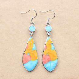 Wholesale Colored Water Glasses Australia - Wish fashion accessories European and American retro colorful earrings water drop-shaped glass-colored diamond earrings cross-border access
