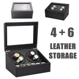 Wholesale 4 Automatic Watch Winder Wooden Dual Automatic Motor Storage Case Box Organizer Display Rack Stand Watch Box Black