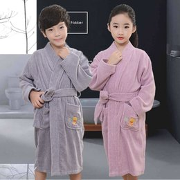 $enCountryForm.capitalKeyWord Australia - Cotton Children's bathrobe Winter baby soft velvet robes Kids dressing gown Cartoon Teenage boy girl Towel Fleece pajamas