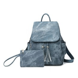 fancy crosses wholesale Canada - Small Backpack PU Fancy Leather Backpack Women Back Pack Women Back Pack Bags Backpack School Bag Set With Tassel