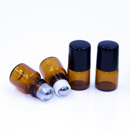 $enCountryForm.capitalKeyWord Canada - Fedex FREE 1ml 2ml amber roll on bottles for essential oils roll-on refillable perfume bottle deodorant containers with black lid