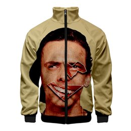 $enCountryForm.capitalKeyWord Australia - Mens 3D Digital Printed Jacket Logic Autumn Stand Collar Long Sleeve Homme Coats Fashion Zipper Fly Male Clothing