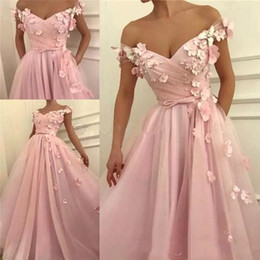 Wholesale 2019 Elegant Pink Evening Dresses A Line Off Shoulders Pleats With Hand Made Flowers Long Arabic Vestidos Prom Dress Formal