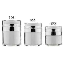 white airless bottles NZ - 15ml 30ml 50ml Airless Acrylic Cream Jar Round Vacuum Cream Bottle White Cosmetic Makeup Jars Refillable Container Lotion Pump Bottle