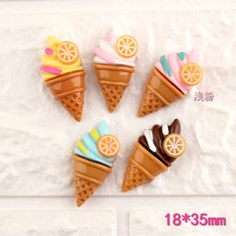 Food Pendant Australia - Mix 100pcs 18*35MM DIY resin summer food ice cream cone charms cabochon ornament craft pendants decoration jewelry making material