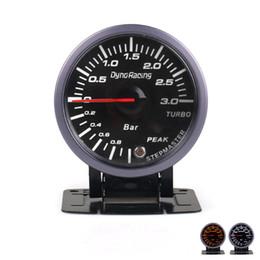 Großhandel Dynoracing 2,5-Zoll-60-mm-Auto-Turbo-Ladedruckanzeige 3 BAR WhiteAmber Dual-LED-Anzeige mit Spitzenwarnung Auto-Messuhr Auto-Messuhr