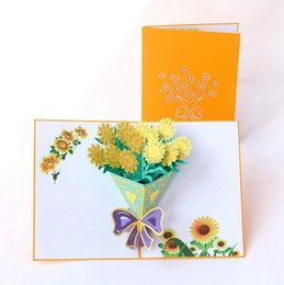 post card envelope wholesale Australia - 3D Mothers Day Wedding postcards Love MoM Pop up gifts Sun flower cards with envelope Festival flowers laser cut hollow handmade