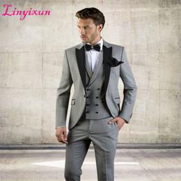 Men Suits Australia - Linyixun Grey Men Suit Slim Fit Jacket With Black Tuxedo Custom Made Blazer Wedding Groom Suits 2018 (blazer+pants+vest) C19041801