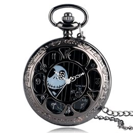 $enCountryForm.capitalKeyWord Australia - Cool Black Hollow Case The Nightmare Before Christmas Theme Fob Pocket Watch with Necklace Chain Best Gift for Men Women