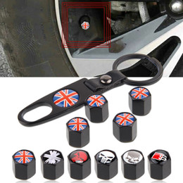 wrenches tool key chains Australia - Car accessories Car Wheel Tyre Tire Stem Air Valve Caps Key Chain Set Skull Punisher Black Car Styling Tire Stem Air Dust Covers+Tool Wrench