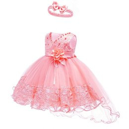 Chinese  Flower Girls Wedding Dress Baby Girls Christening Cake Dresses for Party Occasion Kids 1 Year Baby Girl Birthday Dress manufacturers
