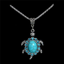Crystal Turtles Australia - Wholesale 1pc Cute Lucky Tortoise Turtle Crystal Pretty Pendant Turquoise Stone Necklace Womens Jewelry