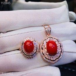 ffdc082599ab KJJEAXCMY joyería exquisita 925 con incrustaciones de plata Collar de  anillo de coral rojo rubí natural conjunto Detección de soporte