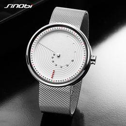Space Watch Australia - SINOBI Creative Dial Watches Quartz Watch Men Ultrathin Space-time Stainless Steel Silver Mesh Band Relogio Masculino Best Gift