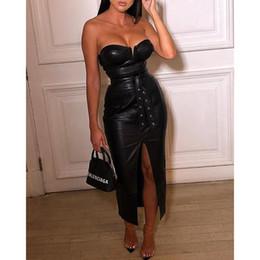 "$enCountryForm.capitalKeyWord NZ - ""Backless pu leather dress Women high split black tight party dress Sexy night club wear low cut bodycon dresses belted vestidos 4.7 N19.7-2"