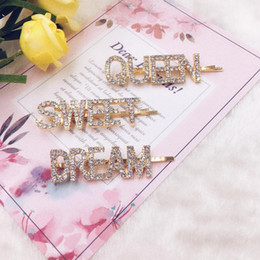 indian rhinestone hair accessories NZ - Crystal Letter Bobby Pins Word Rhinestones Hair Pins Metal Glitter Hair Barrettes Sparkly Hair Accessories for Girls Ladies