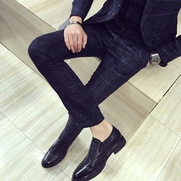 $enCountryForm.capitalKeyWord Australia - Brand New Suit Pants Autumn Winter Hot Sale Mens Dress Pants Fashion British Style Plaid Men Slim Fit Casual Formal Wear