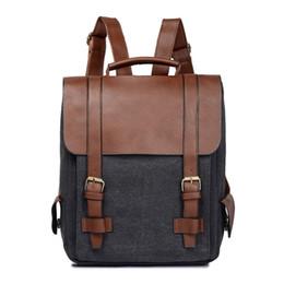 4502ac88a5f0f Männer Frauen Vintage Rucksack Leinwand PU Leder Panel Schultasche  Diebstahl Lässige Daypack 2018 Mode Rucksack für Teenager