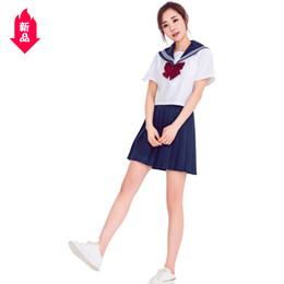 class accessories Australia - 2019 Student Uniform Small Fresh Short Sleeve Student Clothes Middle School School Uniform Class Uniform Perform Stage Show Clothes
