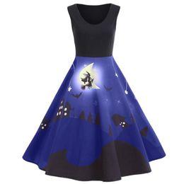 Vintage Style Line Dress Pattern Australia - Vintage Hepburn Style Halloween Dress Pattern Print Multicolor Flare Sleeveless Dresses Elegant Back To 1950s Party Swing Dress