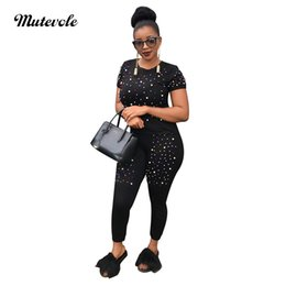 $enCountryForm.capitalKeyWord Australia - Mutevole Women Colorful Pearl Casual Two Piece Sets Beading Short Sleeve Top and Pants 2 Piece Set Pencil Trousers Set Outfits