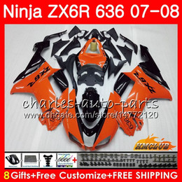 orange kawasaki ninja Canada - Body For KAWASAKI NINJA ZX 6R 6 R 600CC ZX-636 ZX636 07 08 34HC.149 ZX600 ZX6R 07 08 hot orange ZX 636 600 CC ZX-6R 2007 2008 Fairing kit