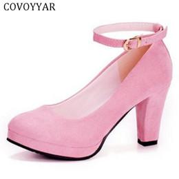 $enCountryForm.capitalKeyWord NZ - Designer Dress Shoes COVOYYAR 2019 Sexy Ankle Strap Women High Heel Spring Autumn Block Thick Heel Platform Flock Lady Pumps Party WHH125