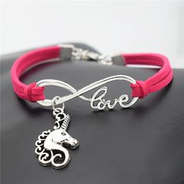 $enCountryForm.capitalKeyWord Australia - 10 Design Infinity Love Horse Head Unicorn Pendant Charm Bracelet For Men Women 2019 Fashion Rose Red Leather Suede Wristband Braid Bangles