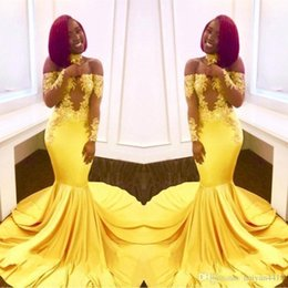$enCountryForm.capitalKeyWord Australia - New Elegant Yellow Off Shoulder Lace Prom Dresses Long Sleeves Mermaid Appliques African Black Girl Satin Arabic Formal Evening Gowns