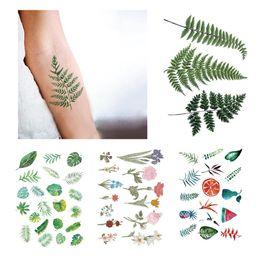 99b09fd27 Green Fern Leaf Plant Big Temporary Tattoo Sticker Waterproof Flower Women  Girls Men Boy Makeup Fake Tattoos 15X11cm