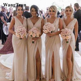 $enCountryForm.capitalKeyWord Australia - Sexy Split Front Draped Champagne Bridesmaid Dresses Long Chiffon Formal Gowns Sheath Wedding Guest Dresses 2019