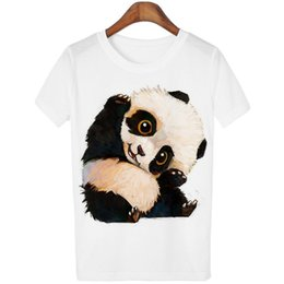 Womens T Shirts Wholesale UK - New Ladies Fashion T Shirt Panda Printing Bottoming Short Sleeved Crew Neck Long Tops Womens Clothes 174113