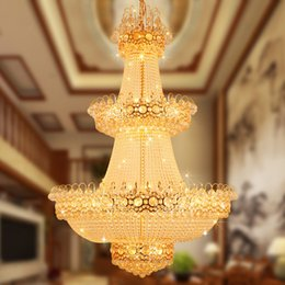 Chandelier Lobby K9 UK - BE41 European Luxury Penthouse Villa Living Room Duplex Staircase K9 Crystal Chandeliers LED Rotating Hotel Lobby Pendant Lamp Lights