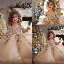 $enCountryForm.capitalKeyWord Australia - 2019 Cute Flare Long Sleeves Lace Flower Girls Dresses Tulle Appliques Beaded Stone Layered Ruffles Wedding Girls Pageant Party Dresses
