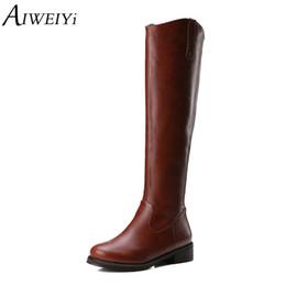 774dd0ffe6fa AIWEIYi Winter Women Knee High Boots Sexy Boots Ladies Zip Punk Combat Army Winter  Women s Shoes