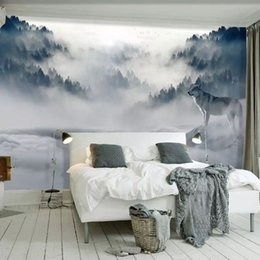 Wall stickers Wolves online shopping - Custom Mural Wallpaper D Mountain Fog Forest Wolf Animal Wall Painting Photo Wallpaper For Living Room Bedroom Decor Sticker