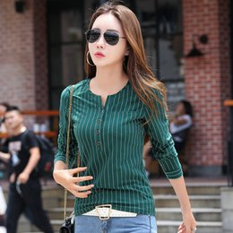 winter long sleeve tees NZ - New Striped T Shirt Women Winter Long Sleeve Female T-shirt Fashion Casual Vertical Stripes T-shirts For Women Autumn Tops Tees S19715