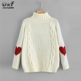 $enCountryForm.capitalKeyWord Australia - Dotfashion Beige High Neck Heart Print Jumper Women Casual Autumn Winter Fashion 2019 Clothing Female Sweaters And Pullovers